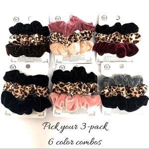 Velvet/Cheetah 3-Pack Scrunchies
